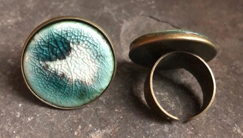 Adjustable Handmade Statement Ceramic Ring in Black and Celadon/Teal