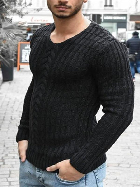 Mens plain o-neck knitted sweater