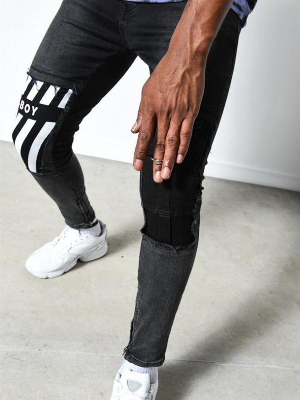 Slim-fit denim trousers with printed feet pants men