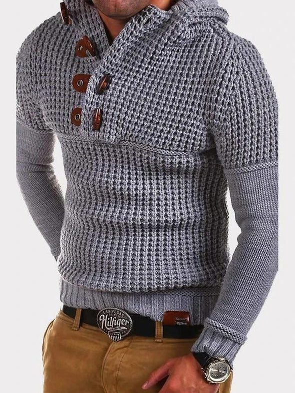 Solid Color Hooded Knitted Sweater