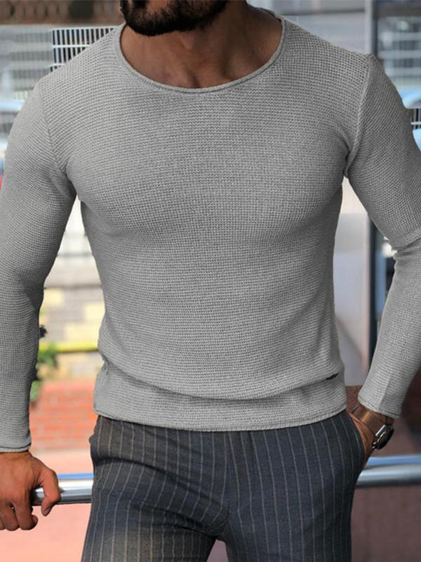 Men's casual round neck raglan sleeve pleated color block sweater