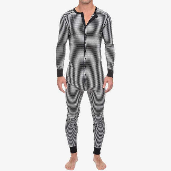 Men's casual striped jumpsuit home wear pajamas