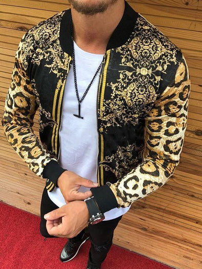 Men's slim leopard print round neck casual jacket