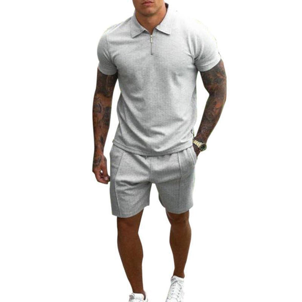 Two-piece casual short sleeve men's suit