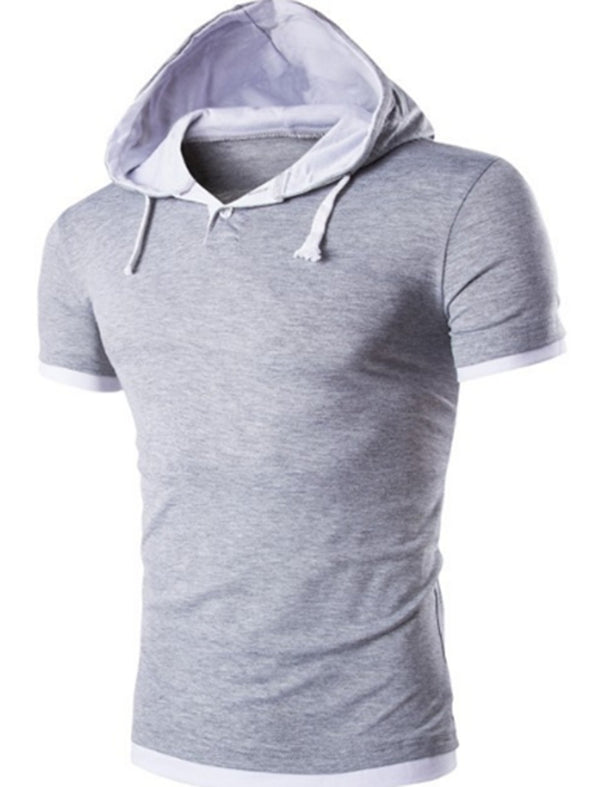 Men's casual slim-fit hooded short-sleeved T-shirt