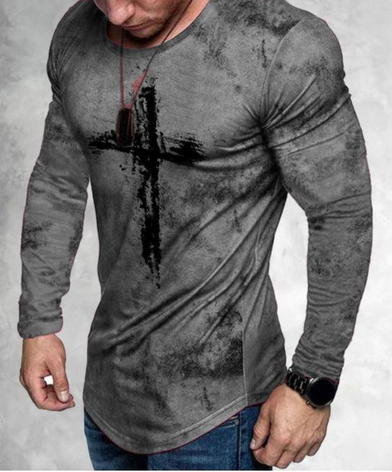 Fashion casual tight-fitting Christian printed long-sleeved T-shirt