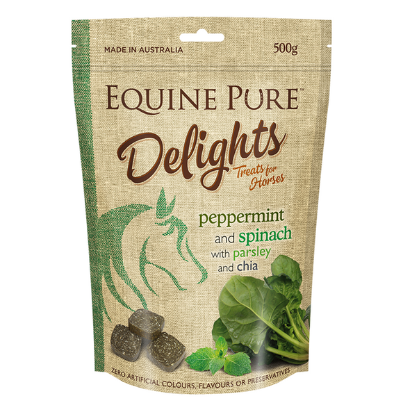 Equine Pure Delights 500g Pouch - Peppermint & Spinach