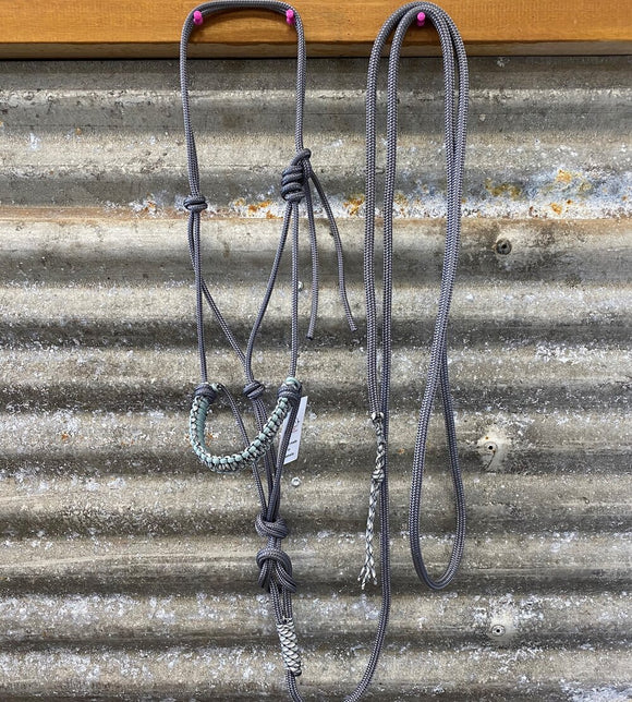 Ropes By Psycho Braided 6mm Halter & Lead Set - Grey