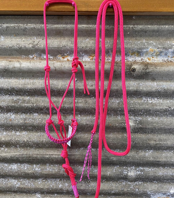 Ropes By Psycho Braided 6mm Halter & Lead Set - Pink