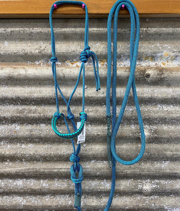 Braided Rope Halter W/ Lead - 6mm - Turquoise (0014)