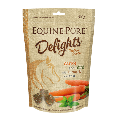Equine Pure Delights 500g Pouch - Carrot & Mint