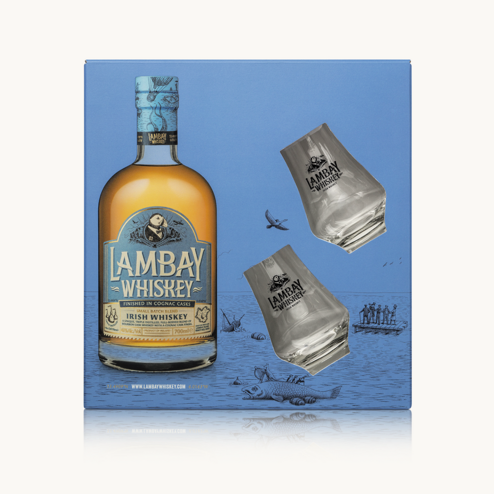 LAMBAY WHISKEY SMALL BATCH BLEND 40° w/ 2 glasses - LAMBAY WHISKEY