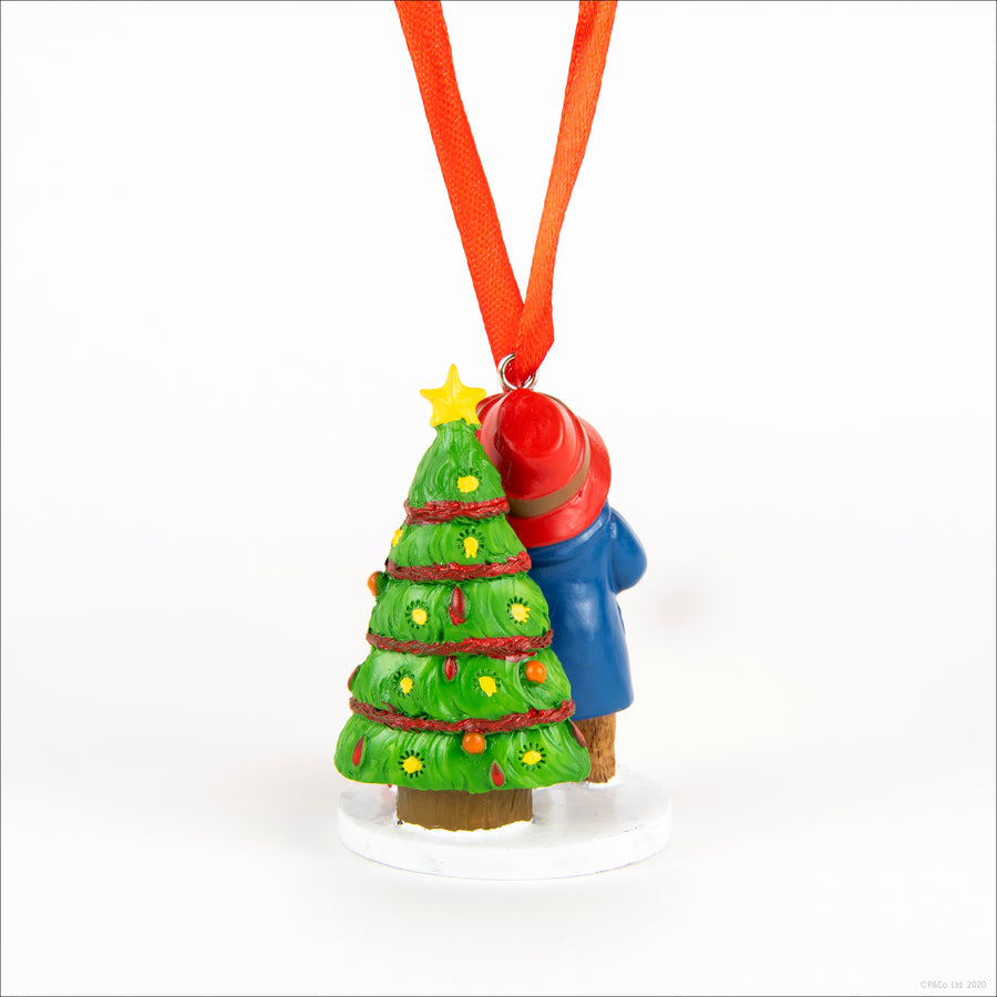 Paddington Christmas Ornament - next to tree