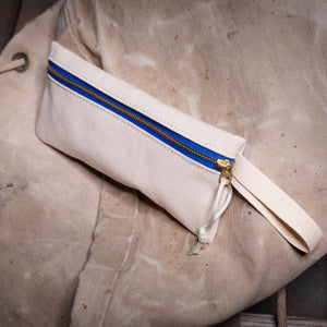 Pencil Bag – Natural Canvas/Blue
