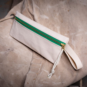 Pencil Bag – Natural Canvas/Green