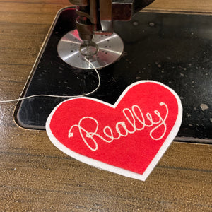 Chainstitch Embroidered Heart Patch