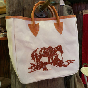 One of a kind chainstitched tote