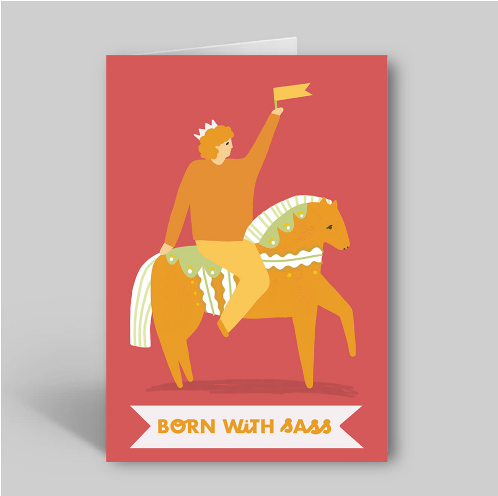 Born With Sass Greetings Card - Folk Like These
