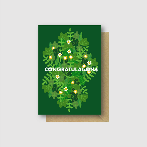 Congratulations Card- Green Floral Illustration - Folk Like These