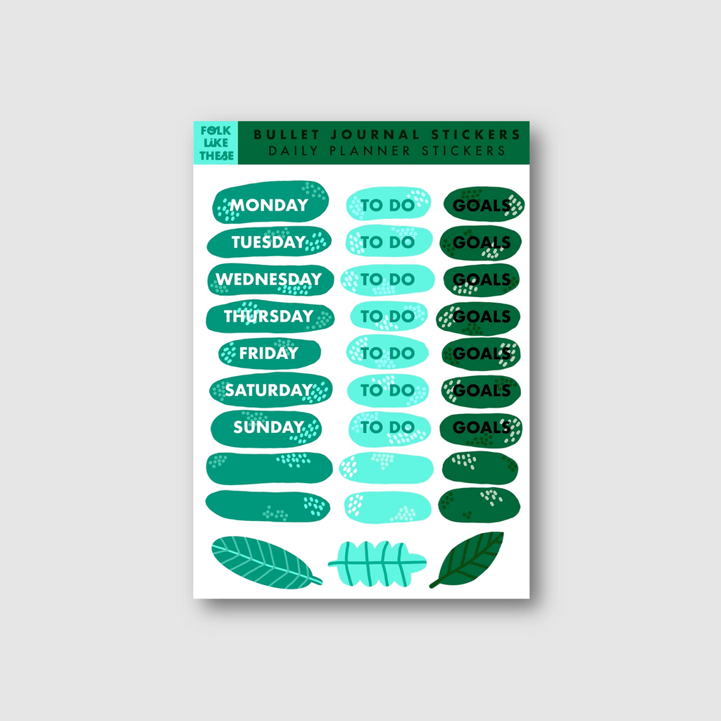 Green Leafy Weekly Planner Stickers - Folk Like These