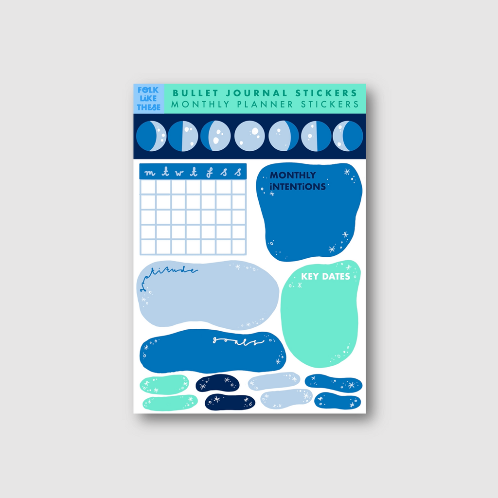Lunar Monthly Planner Stickers - Folk Like These