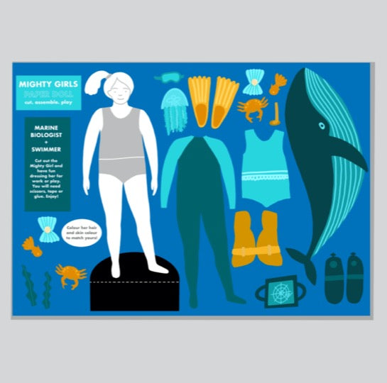 Mighty Girls Paper Doll: Marine Biologist and Swimmer - Folk Like These