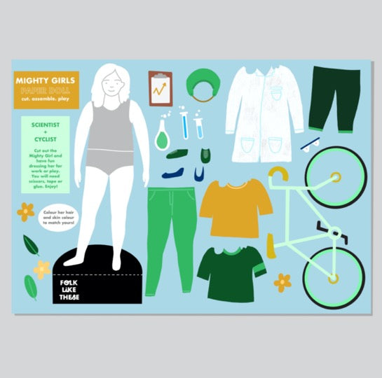 Mighty Girls Paper Doll: Scientist and Cyclist - Folk Like These