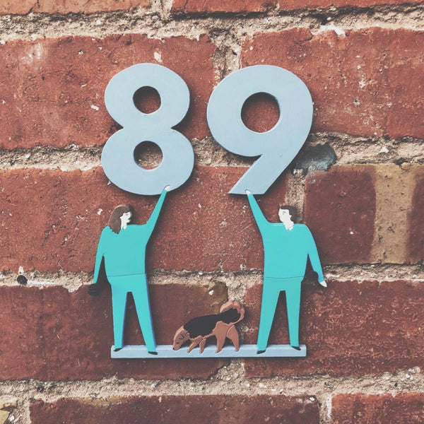 Custom Couple's Portrait Door Number - Folk Like These
