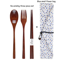 Portable Wooden Cutlery Set with Cloth Bag