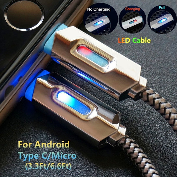 Nylon Braided LED Lighting Cables Micro USB Data Cable Fast Charging Cable for iPhone Android Phones