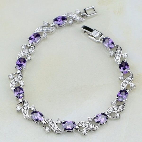 Silver Mystic Purple Amethyst White CZ Charm Bracelets for Women Jewelry