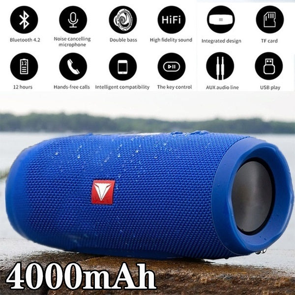Portable Waterproof Outdoor HIFI Column Speaker Wireless Bluetooth Speaker Subwoofer Sound Box Support FM Radio TF Mp3 Player Mobile Phone