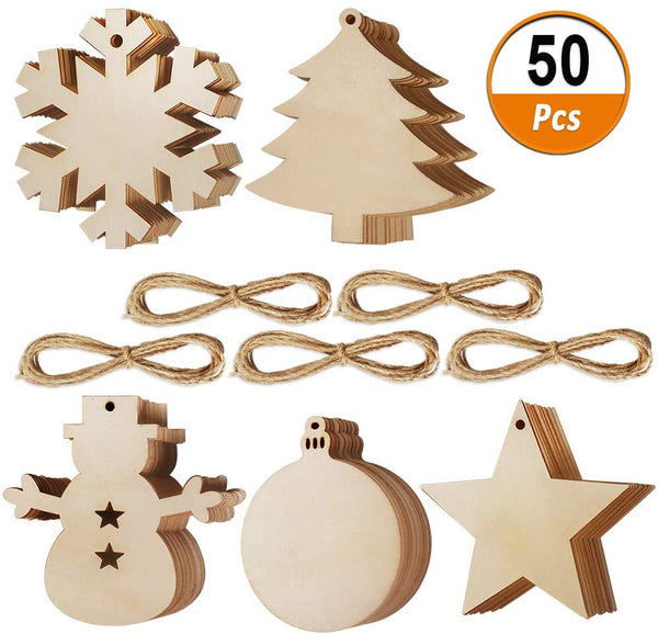 Pack of 50 Christmas Tree Pendants DIY Christmas Decoration Wooden Slices Wooden Stars Snowflake and Snowman Round Wooden Slices Christmas Tree Decoration for Painting and Decorating