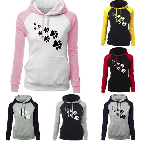Women Fashion Plus Size Hoodies Sweatshirts Long Sleeve Print Pocket Hooded Neck Blouse Tops Lady Hooded Sweatshirt Streetwear