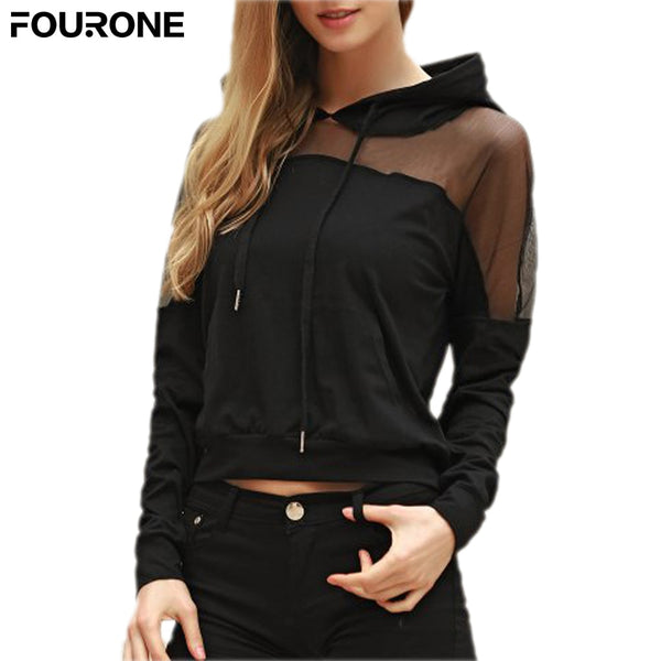 Women Mesh Patchwork Hoodied Top Solid Long Sleeve Sweatershirts Jumper Pullover Top