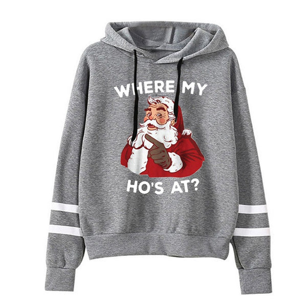 Winter Oversized Merry Christmas Old Man Cute Print Sweatshirt Women Tops Kawaii Hoodies Hoody Full Sleeve Pullovers Clothes#g30