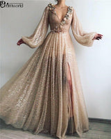 Bling Bling Gold Muslim Formal Party Dress Flowers V-Neck Sequin A-Line Dubai Arabic Long Sleeve Evening Dresses 2020