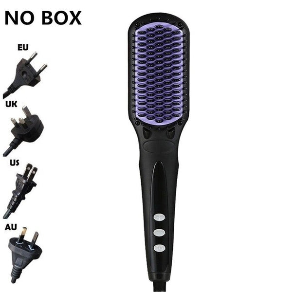 Professional Beard Hair Straightener Comb Durable Electric Straight Hair Comb Brush LCD Heated Ceramic Hair Straightening Brush
