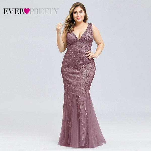 Plus Size Prom Dresses Ever Pretty EP07886 Mermaid Double V-Neck Sequined Tulle Sexy Evening Party Gowns Vestidos Largos Fiesta