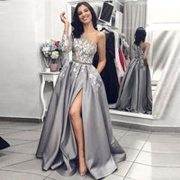 Grey Satin Evening Gown 2020 A-Line Sexy Split White Lace Long Prom Dresses with Pockets One Shoulder Long Sleeves Prom Dress