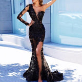 Sofuge Black Arabian Mermaid Long Evening Dresses Full Sleeves Appliques Evening Party Gowns One Shoulder Sexy Robe De Soiree