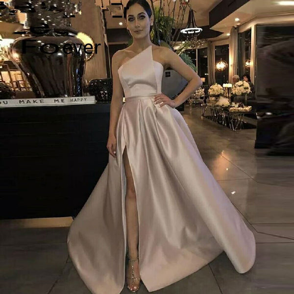 New arrival evening Dress Formal vestido noiva sereia prom party robe de soiree gown luxury frock pink side slit satin lace-up