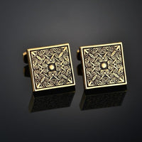 Quality Gold Color Cufflinks Letters/Alien/Square/Dragon/Maple leaves/Balance/Name Cuff Links for mens French bouton manchette - zotmo