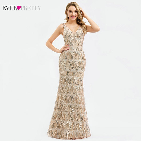 Luxury Evening Dresses Long Ever Pretty 0821 V-Neck Tassel Sequined Sexy Rose Gold Mermaid Party Gown Robe De Soiree Sirene 2020