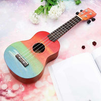Ukulele Hand-Painted Combo 21 Ukulele Black Soprano 4 Strings Uke Bass Stringed Musical Instrument Perfect for Beginners - zotmo