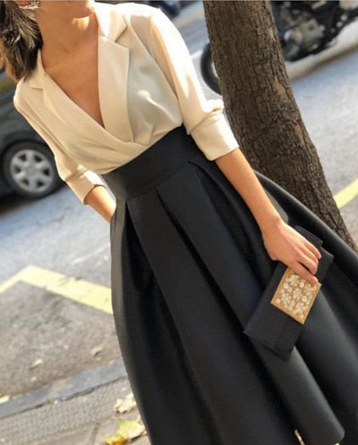 New Arrival V Neck White Black evening dress Short 2020 Simple evening dresses abiye Cheap evening gowns