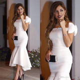 Arabic Short White Cocktail Dresses 2020 Off Shoulder Bow Mermaid Tea Length Modest Prom Party Evening Gowns Cheap Custom Made