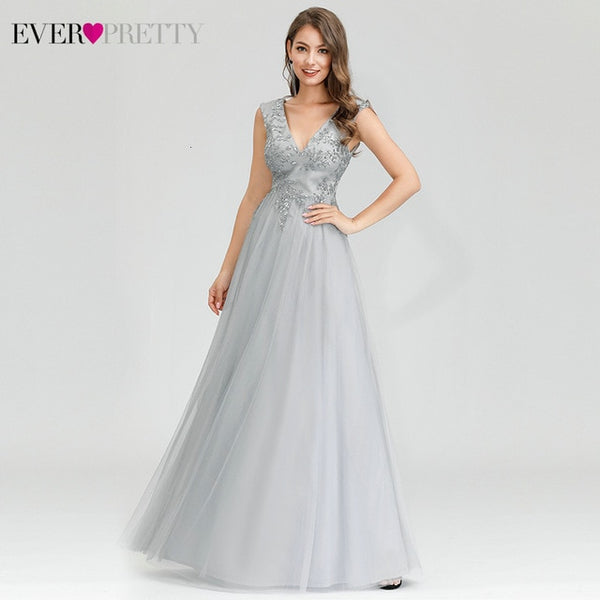 Sparkle Grey Evening Dresses Ever Pretty EP00702 A-Line Double V-Neck Tulle Sequined Elegant Ladies Gowns Vestidos Formal Mujer