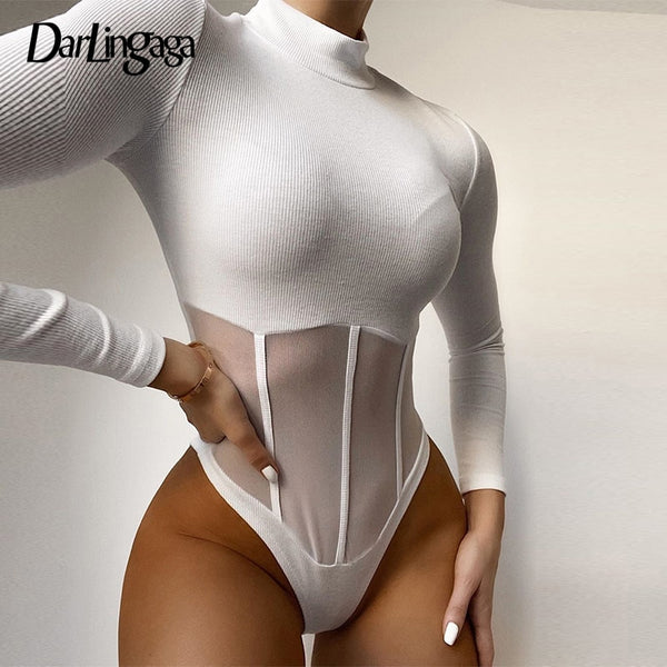 Darlingaga Autumn Winter Bodycon Turtleneck Body Long Sleeve Bodysuit Women Mesh Patchwork Transparent Sexy Bodysuits Party Slim