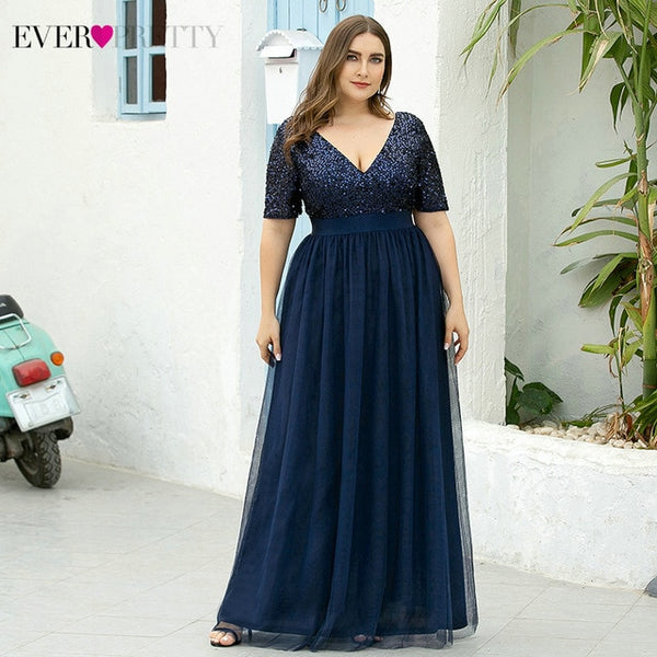 Plus Size Navy Blue Evening Dresses Ever Pretty A-Line V-Neck Sequined Short Sleeve Tulle Elegant Party Gowns Robe De Soiree